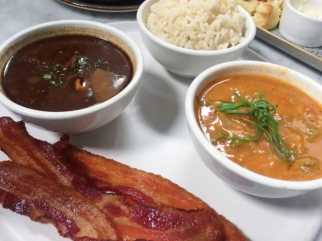 Bacon, Duck Gumbo, Crawfish Etouffee