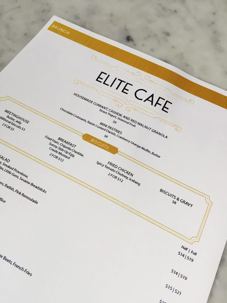 Elite Cafe Menu